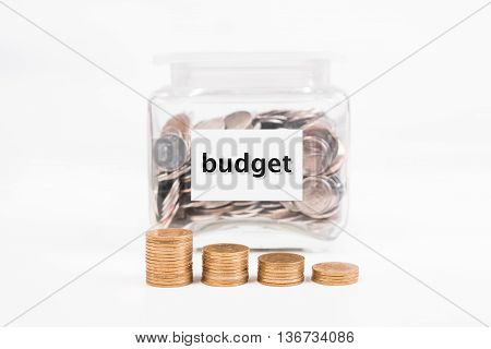 piggy bank pile gold coin with word text Budget on paper in glass piggy bank.(business bank and finance concept)
