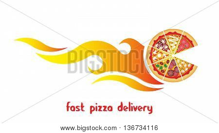 Flat logo pizza delivery. Vector fast food. Flat vector pizza express delivery. Vector fast food pizza delivery logo. Isolated pizza icon. Vector pizza icon. Vector fast food banner.