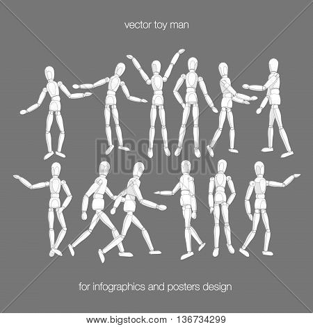 Vector toy man set. Constructor toy dummy man in actions. Wooden toy dummy man in different poses isolated on white background. Vector toy people for infographics. Vector dummy man.