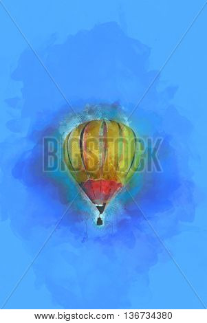 Digital Painting - Flying Hot Air Balloon in Blue Sky