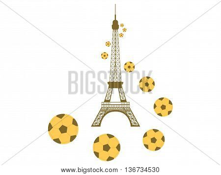 Eiffel Tower And Football Balls On White Background. Soccer Balls And A Symbol Of France. Vector Ill