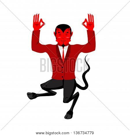 Devil Does Yoga. Red Demon In Lotus Position. Happy Satan. Mefistofil Prince Of Darkness And The Und