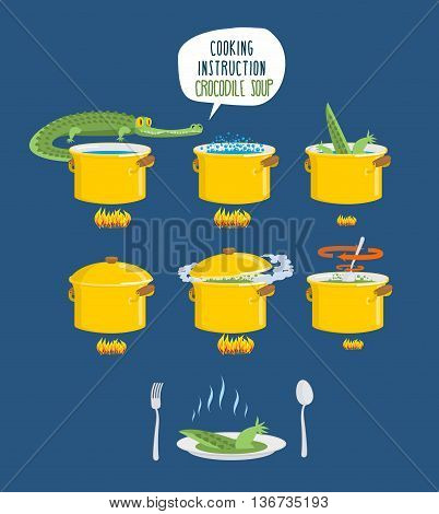 Crocodile Soup On Cooking Instruction. Step-by-step Cooking Delicacy. Bouillon Alligator. Infographi