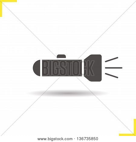 Flashlight icon. Drop shadow silhouette symbol. Light. Portable torch vector isolated illustration
