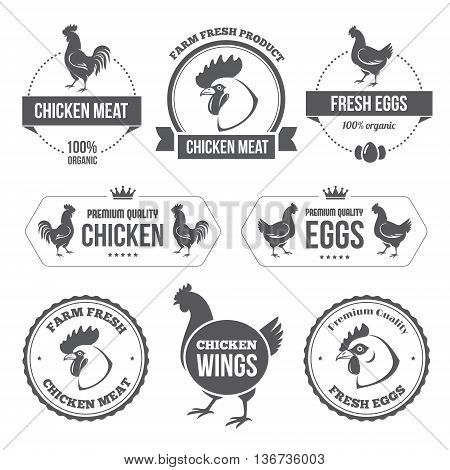 Set of black labels and stamps of chicken meat and eggs in vector