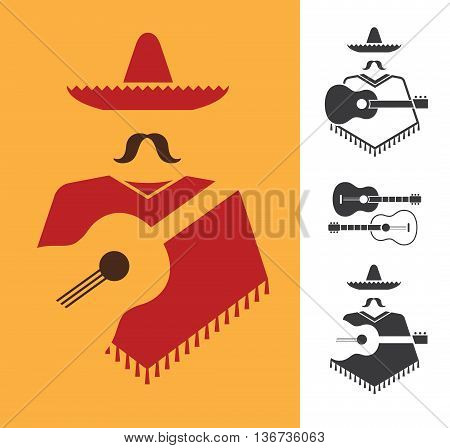 Set of vector graphic signs of mexican with guitar