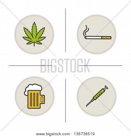 Bad habits color icons set. Addictions. Marijuana leaf cigarette foamy beer mug syringe. Drugs alcohol and smoking symbols. Vector isolated illustrations