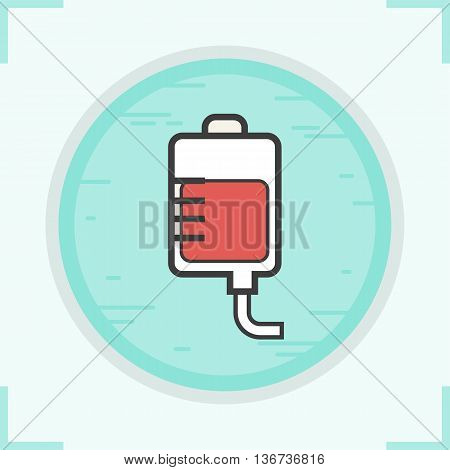Blood bag color icon. Blood transfusion vector isolated illustration