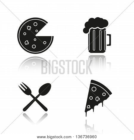 Pizzeria drop shadow black icons set. Pizza slice foamy beer glass eatery fork and spoon symbol. Isolated vector illustrations