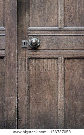 Vintage Brown Wooden Door With Old Door Knob