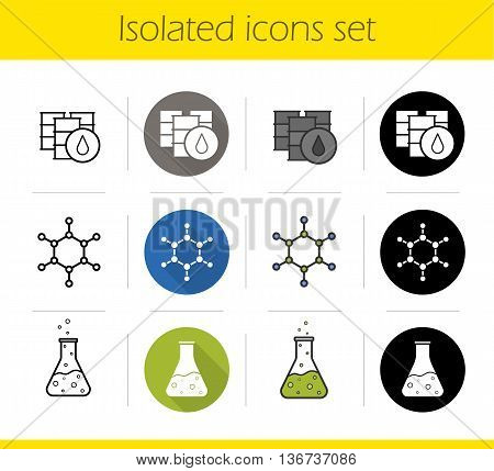 Petroleum industry icons set. Flat design linear black and color styles. Oil barrels molecular structure chemical reaction. Flask with poison and molecule isolated vector illustrations