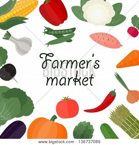 Farmers food design template. Farmers market. Healthy eating background. Vector illustration.