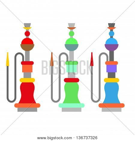 Set colorful arabic hookah. Turkish national instrument for smoking. Egyptian Container with liquid and mouthpiece