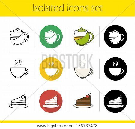 Tea icons set. Flat design linear black and color styles. Piece of chocolate cake on plate teapot and steaming cup isolated vector illustrations