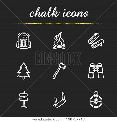 Camping icons set. Backpack campfire firewood fir tree axe binoculars wooden way direction pocket knife compass illustrations. Travelling isolated vector chalkboard drawings