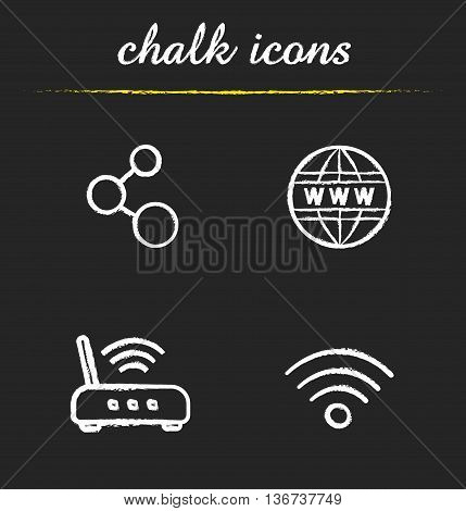 Internet icons set. Connection www wi fi router and signal illustrations. Isolated vector chalkboard drawings