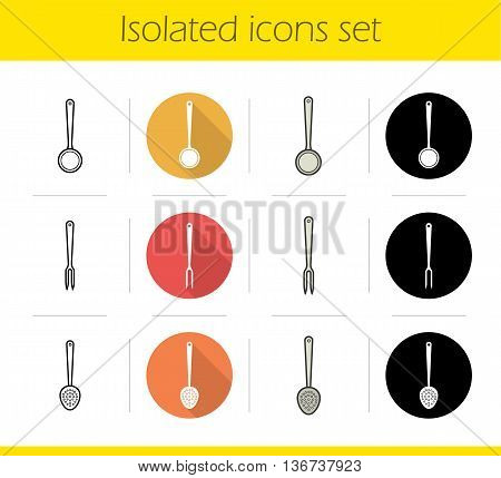 Kitchen instruments icons set. Flat design linear black and color styles. Cooking tools. Skimmer ladle and carving fork isolated vector illustrations