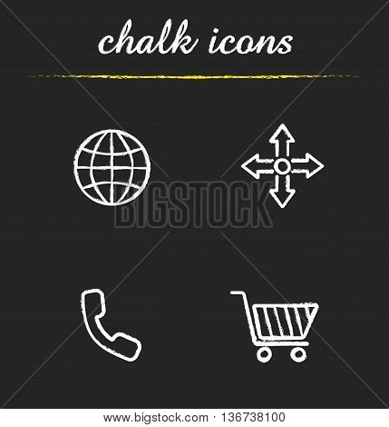 Web store icons set. Worldwide delivery call and buy now illustrations. Internet shopping isolated vector chalkboard drawings