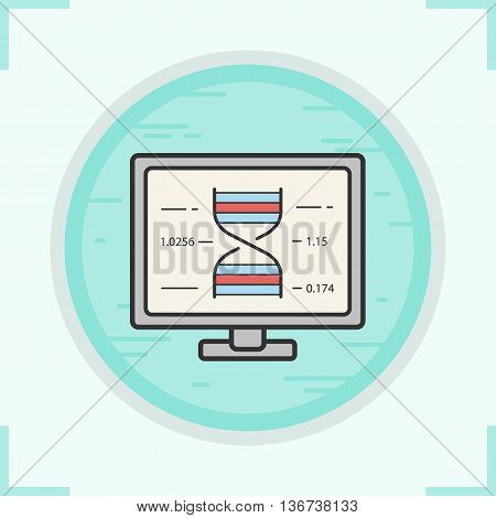 Dna research color icon. Science laboratory computer. Vector isolated illustration