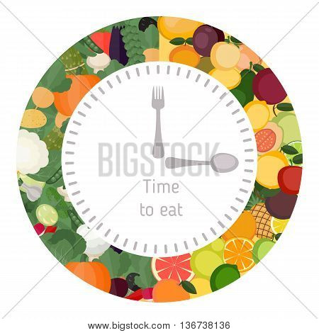 Healthy eating food clock. Diet and healthy eating concept. Clock showing healthy food.