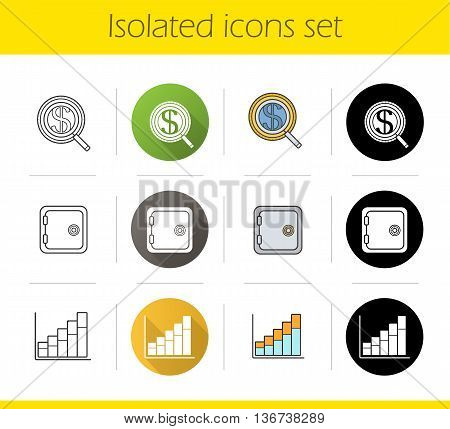 Banking and finance icons set. Flat design linear black and color styles. Investments search safe deposit box income growth chart. Isolated vector illustrations