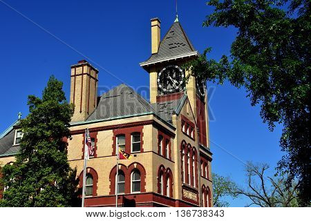 New Bern North Carolina - April 24 2016: Swiss-inspired 19th century City Hall with clock tower