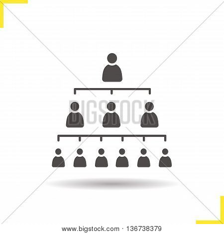 Company hierarchy concept icon. Negative space. Drop shadow leadership silhouette symbol. Organization structure. Vector isolated illustration