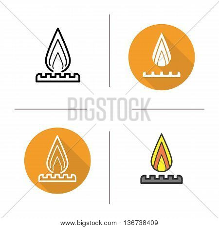 Gas burner icon. Flat design linear and color styles. Stove symbol. Fire isolated vector illustrations