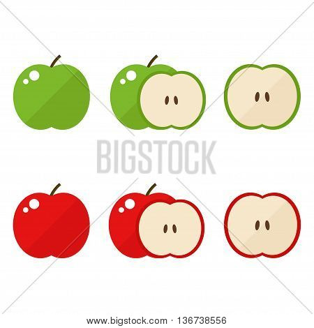 Apple icons set. Apple icon isolated on white background. Red and green apple image for company logo, farm banner. Flat style vector illustration.