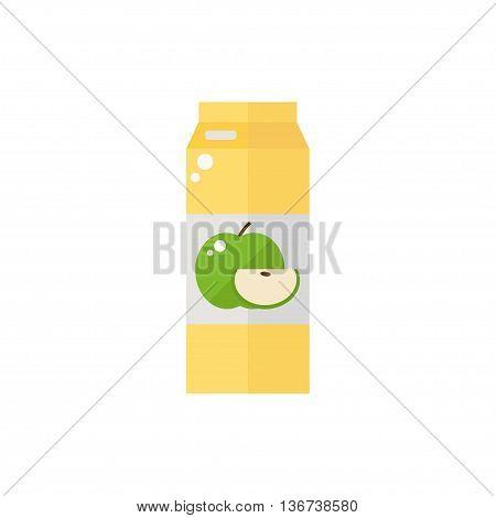 Pack of juice. Apple pack of juice icon isolated on white background. Fresh apple juice. Flat style vector illustration.