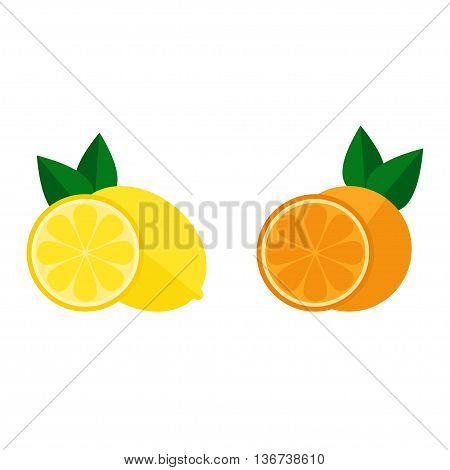 Citrus icon isolated on white background. Citrus fruits. Orange and lemon. Flat style vector illustration.