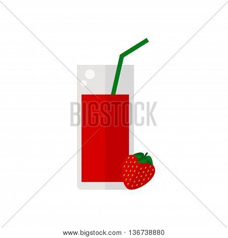 Juice icon. Strawberry juice isolated icon on white background. Glass of juice with tubule. Strawberry smoothies. Strawberry fruit. Fresh juice. Flat style vector illustration.