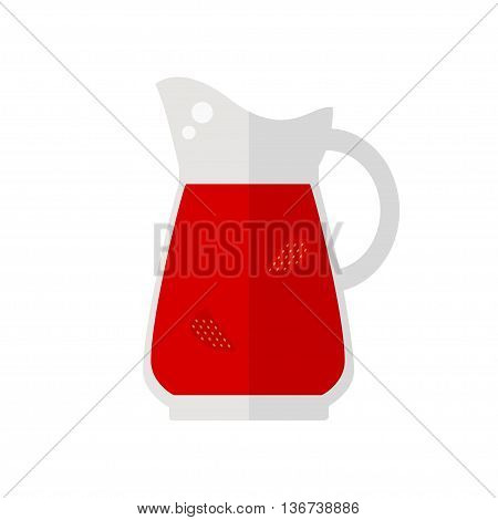 Juice jug icon. Strawberry juice jug isolated icon on white background. Fresh juice. Healthy drink. Flat style vector illustration.