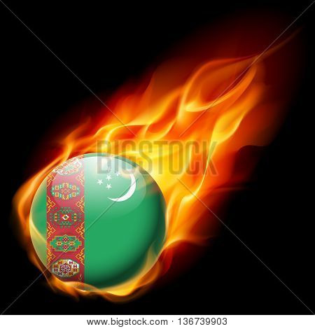 Flag of Turkmenistan as round glossy icon burning in flame