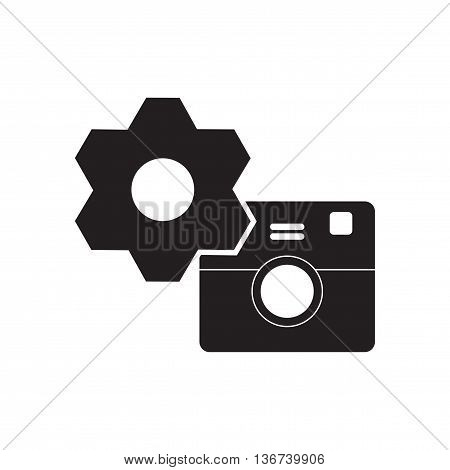 Flat icon in black and  white camera