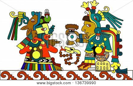 A stylized drawing of the ancient American Indians. The Aztecs, Mayans, Incas. Indian priest passes the hot chocolate. Vector illustration.