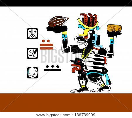 Cocoa beans and a cup of hot chocolate in the hands of the priest. Ethnic pattern of American Indians: the Aztecs, the Mayans, the Incas. Vector illustration