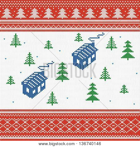 vector illustration. Knitted texture house with Christmas trees Nordic pattern winter sweater