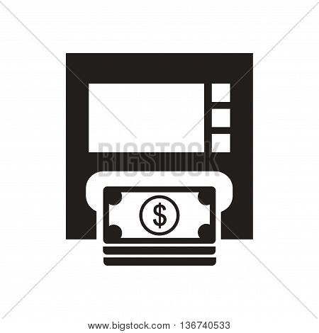 Flat icon in black and  white ATM money