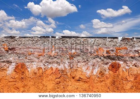 Layer Of Soil Beneath The Asphalt Road With Blue Sky.