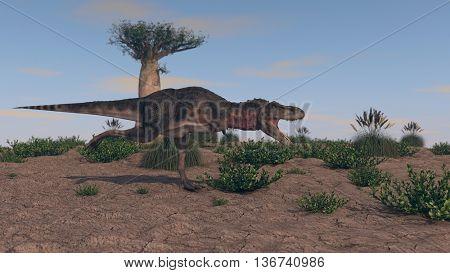3d illustration of the tarbosaurus attack