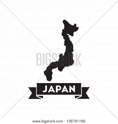 Flat icon in black and  white Japan map