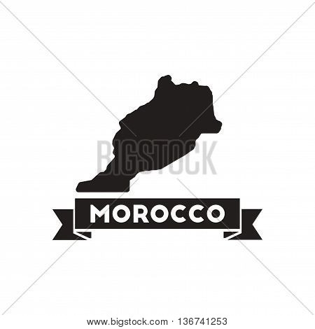 Flat icon in black and  white Morocco map