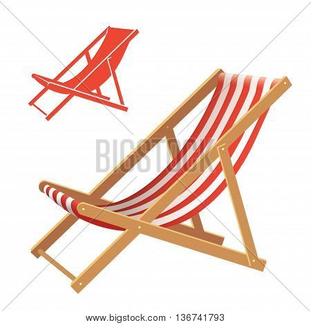 Two deck chair vector illustrations. Realistic and silhouette