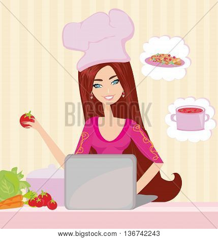 housewife looking in laptop during dinner , vector illustration