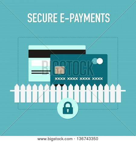 Secure internet payments system in flat graphic