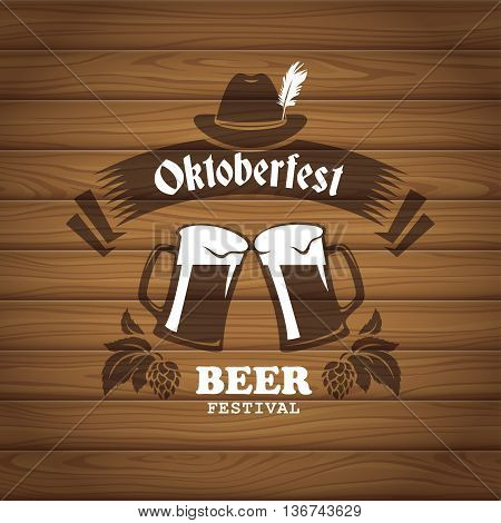 Oktoberfest poster with seamless wooden planks texture on background