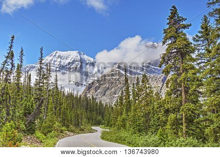 A Mountain Road  In Jasper National Park, Alberta, Canada