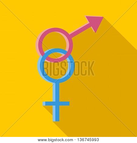Male and female symbols icon in flat style with long shadow