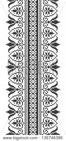 Scheme of knitting and embroidery. Vector seamless pattern.